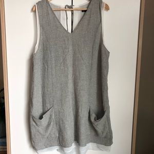 Zara wool chiffon jumper dress grey white XL